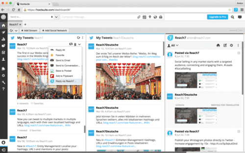 Hootsuite example of a dashboard