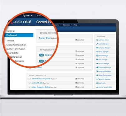 Spaces and Places Joomla dashboard