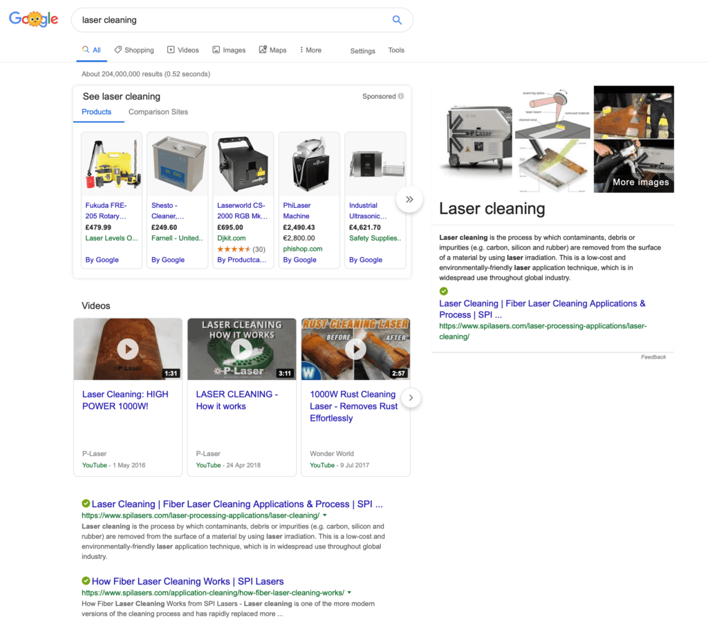 Featured snippet example and impact on SEO