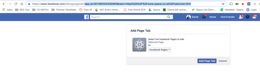 Add Page Tab popup