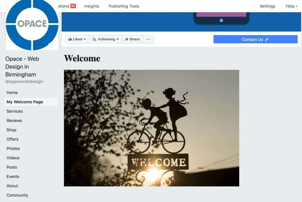 Facebook first welcome page