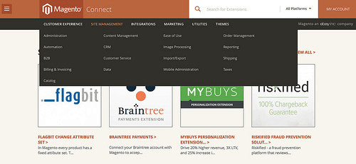 Free Magento extensions and themes can be downloaded from the Magento Connect store.